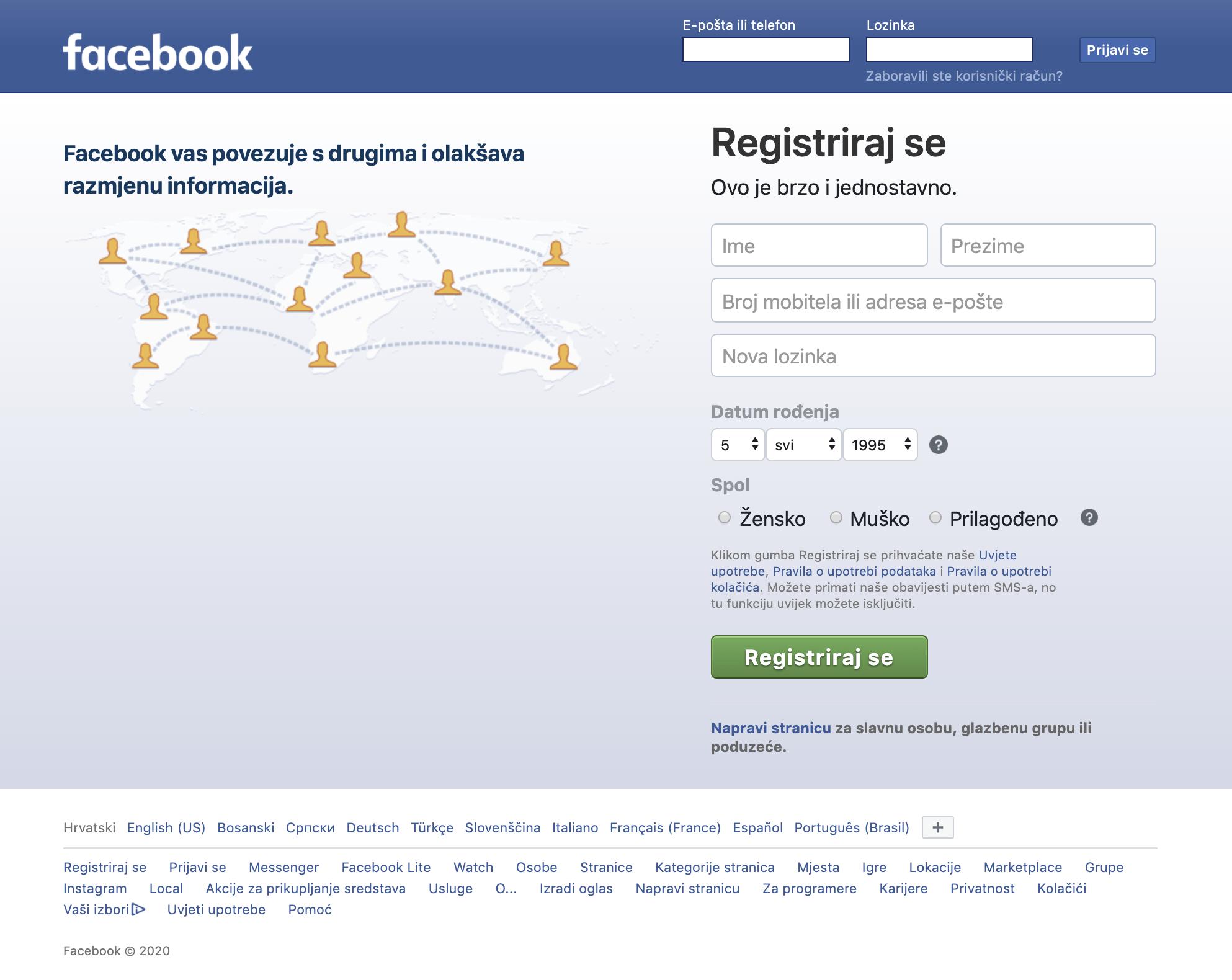 Facebook početna za registraciju