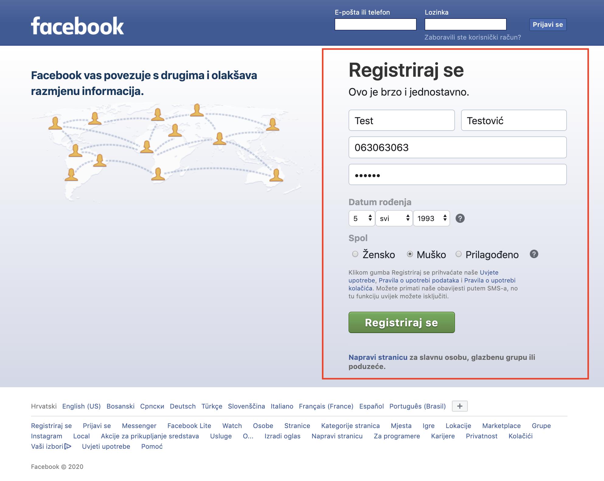 Facebook početna - registracija